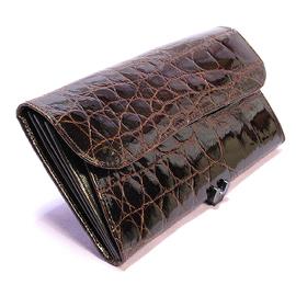 クロコダイル長財布(チョコ)