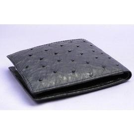 オーストリッチ折り財布コンパクト(クロ)