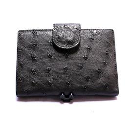 オーストリッチ・二つ折財布ベロ付(黒)