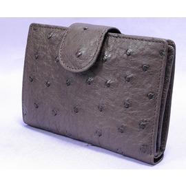 オーストリッチ帯付折り財布(ニコチン)