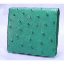 オーストリッチ折り財布(グリーン)