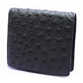 オーストリッチ折り財布(クロ)