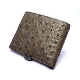 オーストリッチ折り財布・Wカード入れ付(ニコチン)