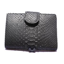 パイソン二つ折り財布・ベロ付(黒)