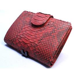 パイソン二つ折り財布・ベロ付(赤)