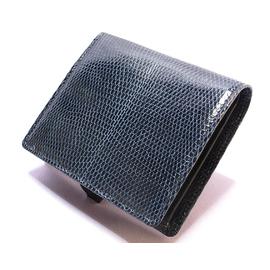 リザード二つ折り財布(ネイビー)