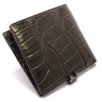 クロコダイル折り財布・札入Wカード(マット・茶)